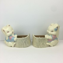 Vtg Burwood Products Bunny Rabbit Boy Girl Planter Wall Decor Plastic Re... - $15.88