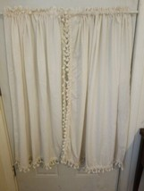 "Vintage COUNTRY CURTAINS cream Tassel Edge 2 Sets 44""w×44""l - $117.71"