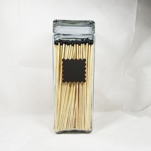 Extra Tall Glass Match Holder Vase for Long Fireplace Matches, Scalloped... - $68.70