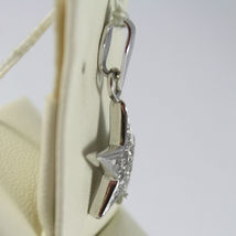 SOLID 18K WHITE GOLD STAR PENDANT WITH ZIRCONIA ROUND CUT, MADE IN ITALY image 3