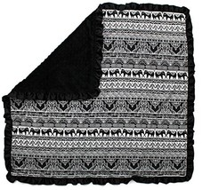 Dear Baby Gear Baby (Baby Blanket|BB Elephants Tribal Bali, Black Minky) - $33.49