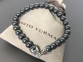 "David Yurman 8.5"" 8mm Beads Sterling Silver 925 HEMATITE Onyx Bracelet - $199.99"