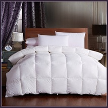 King Size White Jacquard Weave Silk Quilted White Duck Down Duvet Comforter image 1