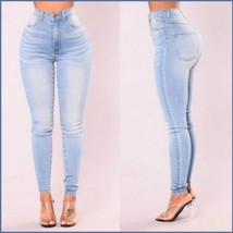 High Waisted Front and Back Pockets Zip Up Light Blue Denim Skinny Jeans Pants image 2