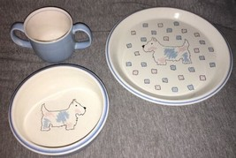 Mikasa 3-Piece Child China Dish Set CC005 Best Friend Scottie Terrier Pu... - $19.79