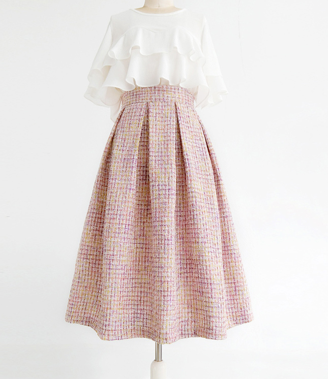 Pink Winter Tweed Skirt A-line High Waisted Pink Midi Tweed Skirt