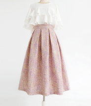 Pink Winter Tweed Skirt A-line High Waisted Pink Midi Tweed Skirt image 1