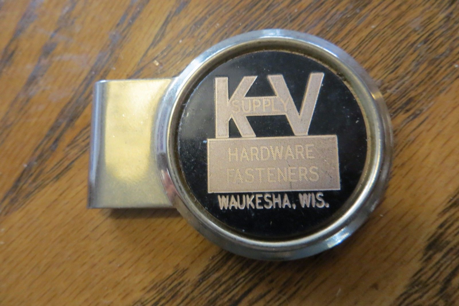 ADVERTISING MONEY CLIP, K.V SUPPLY HARDWARE FASTENERS,WAUKESHA WIS.