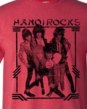 Hanoi Rocks T-shirt 80s Heavy Metal Glam retro Rock distressed heather red tee image 2