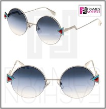 FENDI RAINBOW FF0243S Silver Blue Aqua Gradient Round Sunglasses Metal 0243 - $247.50