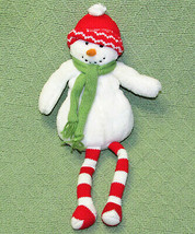 "14"" HALLMARK SNOWMAN STUFFED ANIMAL FLOPPY RED STRIPED LEGS PLUSH CHRIST... - $20.57"