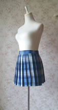 Light BLUE PLAID Skirt Women Girl Pleated Plaid Skirt Outfit Mini Plaid Skirt image 5