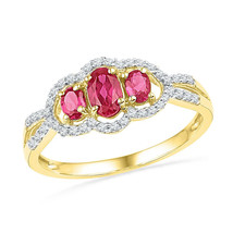 10k Yellow Gold Womens Oval Lab-Created Ruby 3-stone Diamond Frame Ring 7/8 - £164.07 GBP