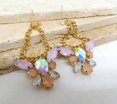 Pastel Pink Blue Purple Acrylic Rhinestone Vintage Style Dangle Earrings... - $16.82