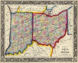 Countymapofohioandindiana 1860 mappostersmall thumb200