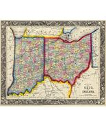 County Map Of Ohio And Indiana - 1860 - Map Poster - $9.99+