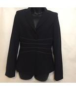 BCBG Maxazria Women's XS Black Stretchy Wool Blazer Jacket Striped - $29.69