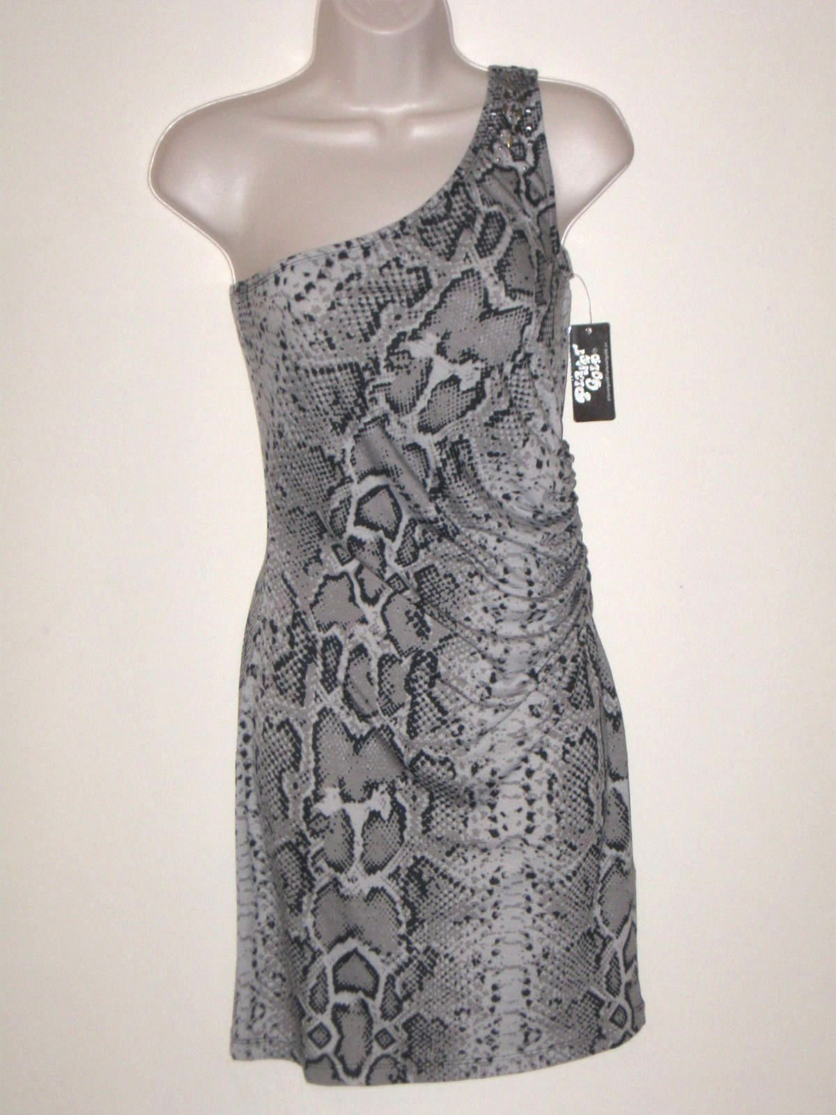 PLANET GOLD One-Shoulder Snake Print Gray Mini Summer Casual Dress Sz S (M*)