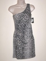 PLANET GOLD One-Shoulder Snake Print Gray Mini Summer Casual Dress Sz S (M*) - $24.99