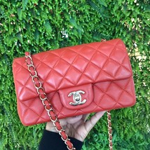 100% Auth Chanel RED Quilted Lambskin Large Mini 20CM Rectangular Flap Bag