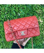 100% Auth Chanel RED Quilted Lambskin Large Mini 20CM Rectangular Flap Bag - $3,199.99