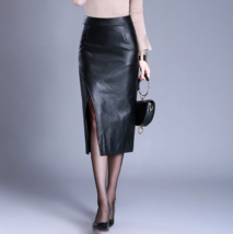 High Waist Bodycon Winter Skirt Women Sexy Split PU Leather Skirts Long Pencil  - $45.99