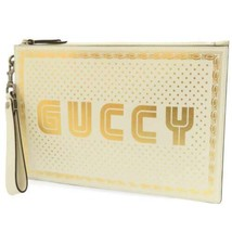 GUCCI Guccy Print Leather White Gold Stars 510489 Clutch Bag Mini Bag Italy - $677.95