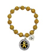 Custom Spina Bifida Awareness Yellow Bling Bracelet Jewelry Choose Initial - $13.80+