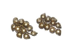 Flower Rhinestone Clip On Earrings, Huge Flower Clip on Earrings, Mid Ce... - $14.00