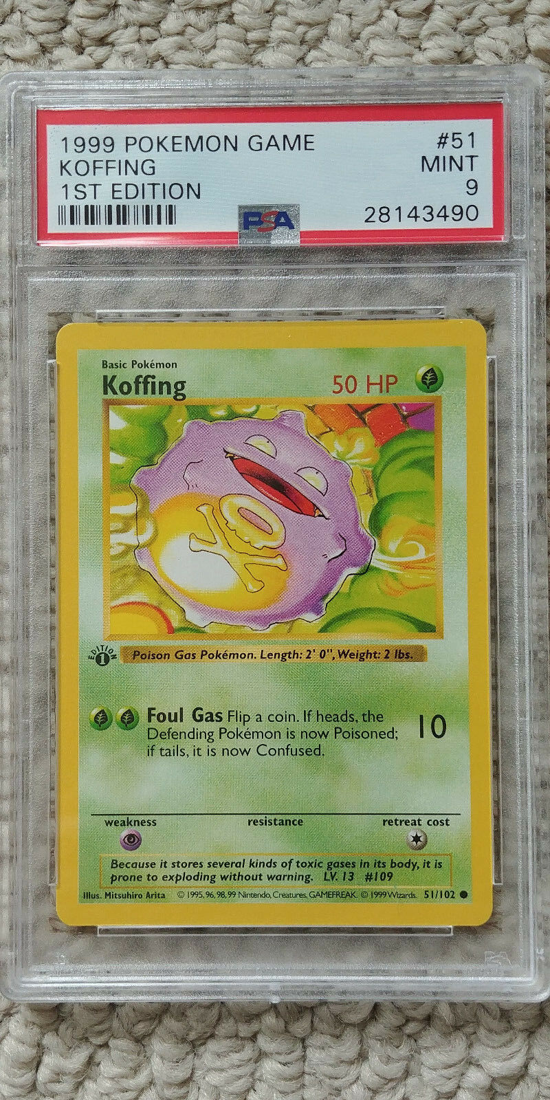 Pokemon Koffing 51/102 1st Edition Base Set PSA 9 Pokemon Game 1999 Shadowless