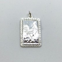 NEW .990 Sterling Silver Year of the Rooster Rectangular Lucky Pendant - $23.36