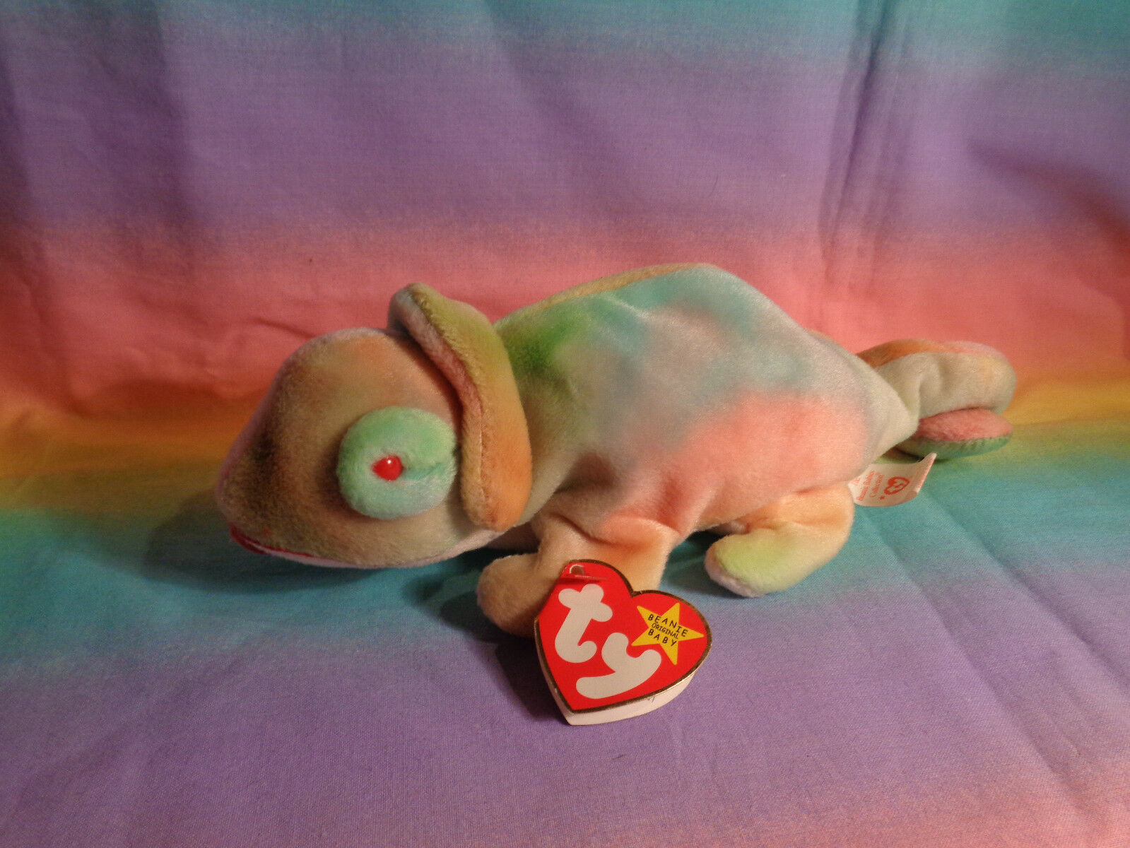 Vintage 1997 Ty Beanie Baby Rainbow Chameleon Bean Bag Plush w/ Tags - as is image 3