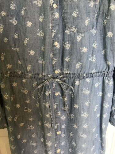 Old Navy Womens Dress L/S Chambray Floral Tie Drawstring Waist XS Extra Small