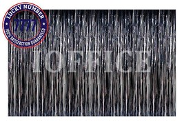Ioffice Metallic Black Foil Fringe Curtains 12 Ft X 8 Ft. Door Window Cu... - ₨1,619.09 INR