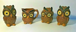 Vintage Set of Four Owl Table Set Salt and Pepper Creamer and Sugar Bowl - $28.45