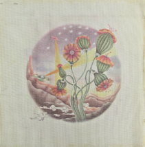 Vintage 1970's Hand Painted Needlepoint Canvas Beautiful Fantasy Flower ... - $36.04