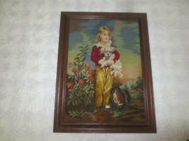"Oak Framed VICTORIAN BOY WITH HIS PUPPY Needlepoint & Petit Point - 16"" ... - $3,460.05"