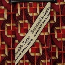 Burgundy Foulard ZEGNA Silk Tie - $17.99