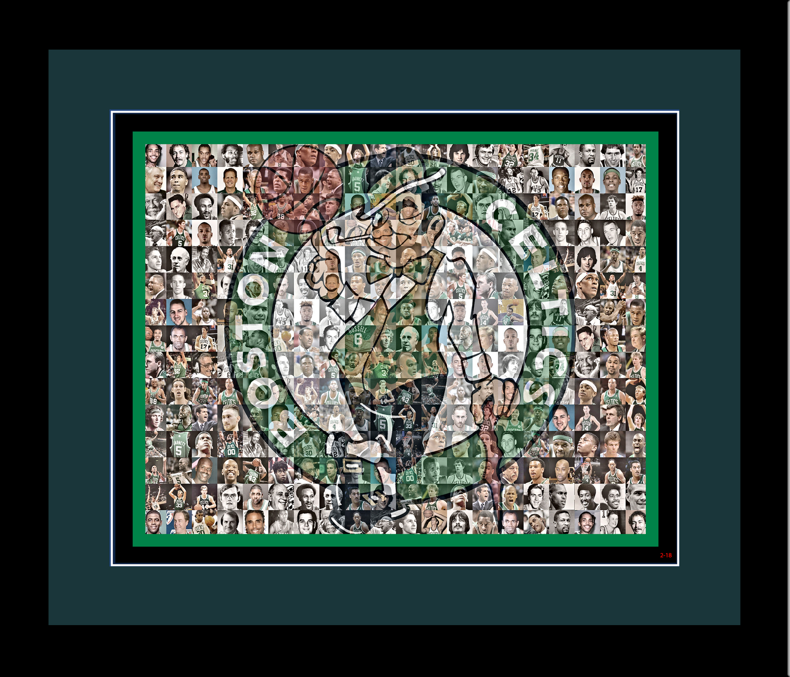 Boston Celtics Mosaic Print Art of over 70 of the Greatest Celtics Players