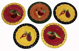 "5 Laurie Gates Polka Dots Vegetables Heavy Thick 9-1/2"" Luncheon Plates ... - $59.99"