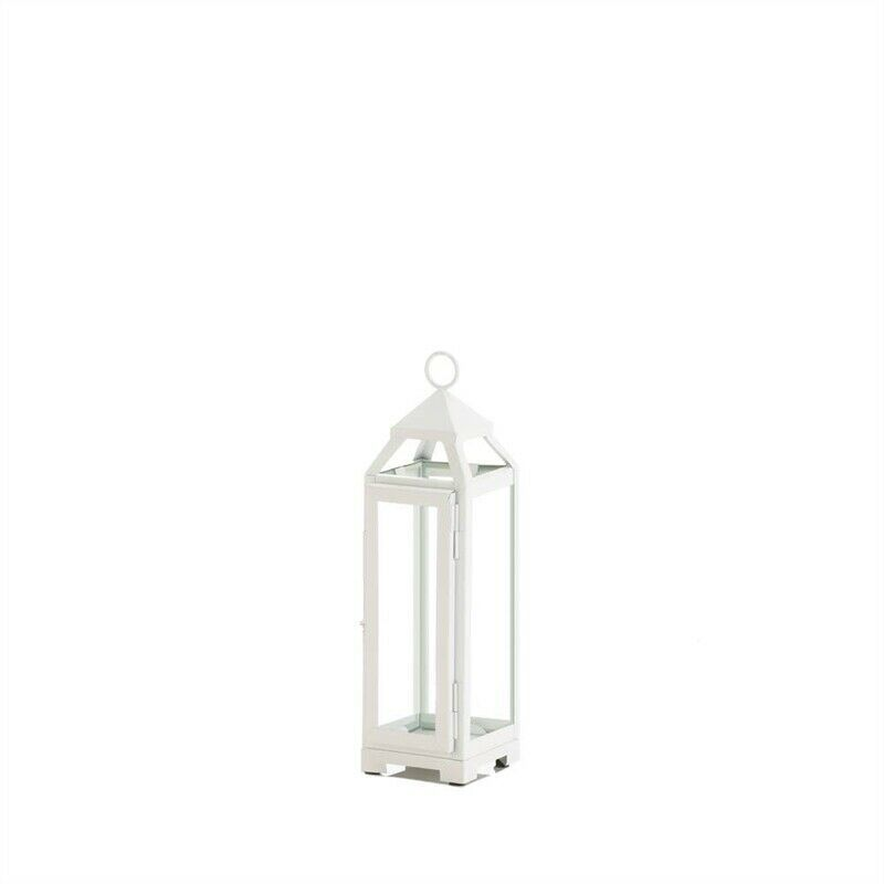 Small Country White Open Top Candle Lantern