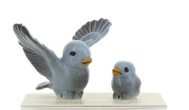 Hagen Renaker Miniature Bluebird Tweety Pa and Chick Ceramic Figurine Set of 2 image 1