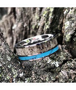 Deer Antler Ring with Turquoise Inlay Mens Womens Wedding Ring Hunter Band - $89.99+