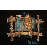 Vintage Las Vegas Saddle Tourist Souvenir Black Cotton T Shirt Size L - $16.82