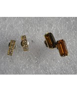 Vintage Earrings Stud Post Amber Citrine Color & White Rhinestone On Gol... - $8.50