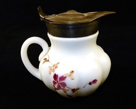 Antique Milk Glass Syrup Pitcher, Hand Painted Floral Pattern, Rim Damag... - $78.35