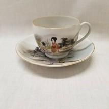 Hand-painted Japanese Vintage teacup and Saucer, Nippon Style. Japan Tea set - $14.84