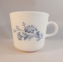 Corning Colonial Mist Coffee Mug Blue Flowers C Handle Milk Glass Cottagecore - $9.89