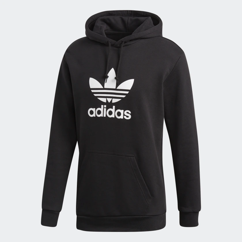 Primary image for Adidas Originals Men's Trefoil Pullover Hoodie NEW AUTHENTIC Black/White DT7964