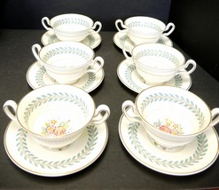 Six Wedgwood Cream Soups and Underplates With Gold Trim  - Woodstock Pat... - $94.99